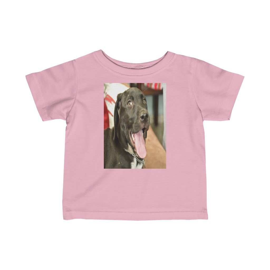 🐕 A Steal for $16.99 - UK Print - Infant Fine Cotton Jersey Tee - Dogs Zeus saying Hi and Puppies Puerto Rico - Yunque Store