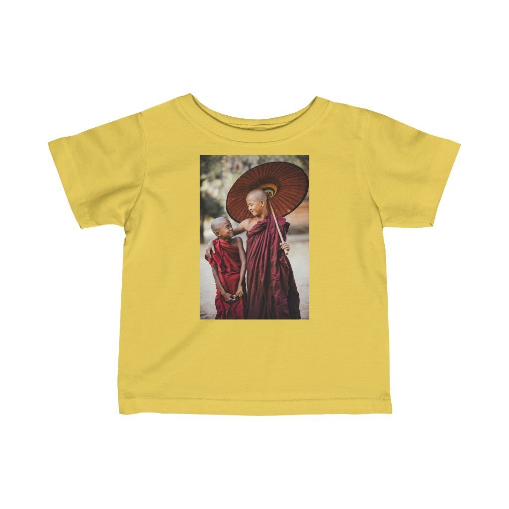😇 A Steal for $16.99 - UK Print - Infant Fine Cotton Jersey Tee - Thai Buddhist Children monks / Burma Buddha Blessings - Yunque Store