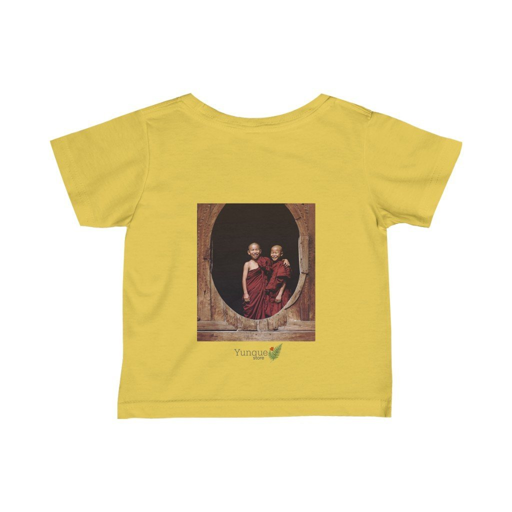 😇 A Steal for $16.99 - UK Print - Infant Fine Cotton Jersey Tee - Tibetan Buddha Blessings/Thai Buddhist Children monks - Yunque Store
