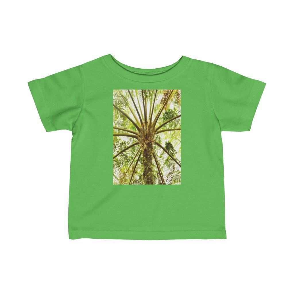 🐱‍🐉 A Steal for $16.99 - UK Print - Infant Fine Cotton Jersey Tee - Tropical El Yunque rainforest - ancient fern palm and El Yunque peak - Yunque Store