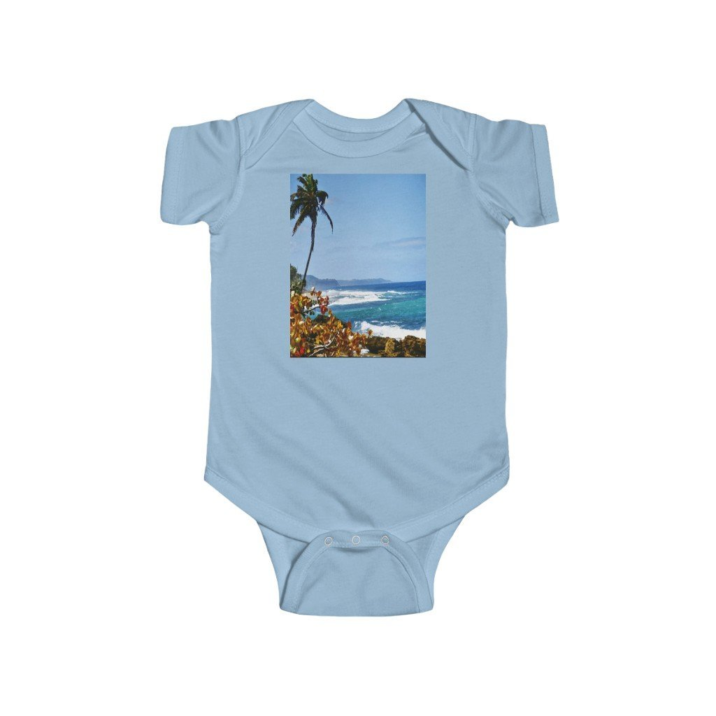 📢 A Steal for $16.99 - UK Print - 🛀 Infant Fine Jersey Cotton Bodysuit - Beautiful Tropical 🌴🐸🌴 Beaches of Puerto Rico - Yunque Store