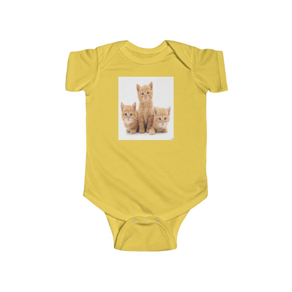 🐱 A Steal for $16.99 - UK Print - 🛀 Infant Fine Jersey Cotton Bodysuit - It's a HARD Cat's Life - Yunque Store