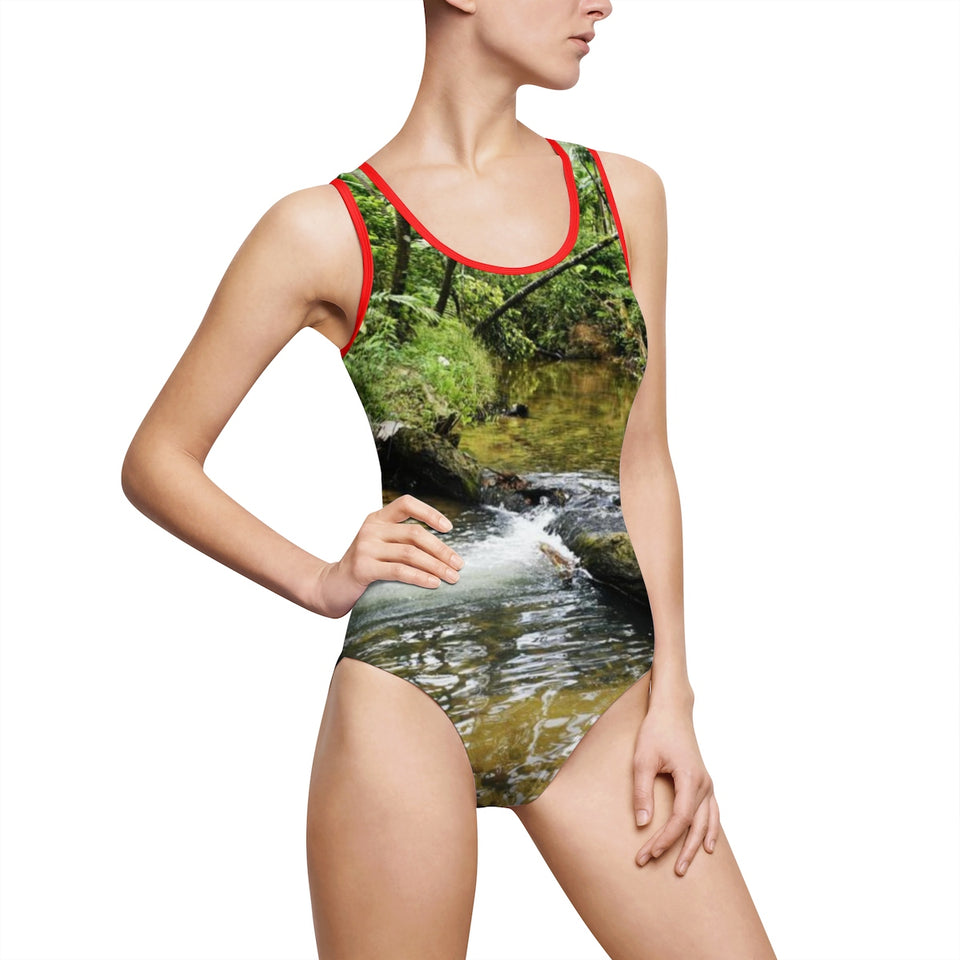 Women's Classic One-Piece Swimsuit - Rio Sabana Exploration - the river both sides
