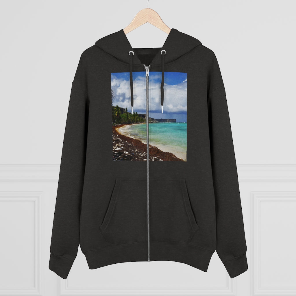 Printed in Germany - Men's Iconic Cultivator Zip Hoodie - 85% organic cotton & Heavy Fabric - eco-fashion TROPICAL hot deals to keep warm - Mona Island and Isabela Beach PR 🌴🌞🌴