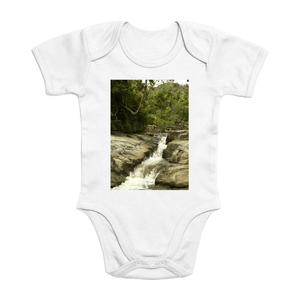 Affordable $15 - ORGANIC BABY BODYSUIT - Natural Images for an Intelligent Baby - Forest Stream - El Yunque rainforest Puerto Rico - Yunque Store