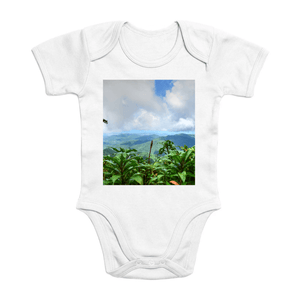 Affordable $15 - ORGANIC BABY BODYSUIT - Natural Images for an Intelligent Baby - Forest view from peak at 3,125 feet - El Yunque rainforest Puerto Rico - Yunque Store