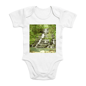 Affordable $15 - ORGANIC BABY BODYSUIT - Natural Images for an Intelligent Baby - Hidden waterfall in La Coca Trail - El Yunque rainforest Puerto Rico - Yunque Store