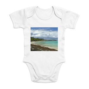 Affordable $15 - ORGANIC BABY BODYSUIT - Natural Images for an Intelligent Baby - Mona Island pajaros beach - Puerto Rico - Yunque Store