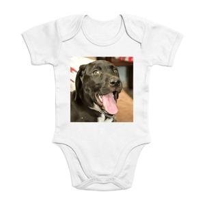 Affordable $15 - ORGANIC BABY BODYSUIT - Natural Images for an Intelligent Baby - Our dog Zeus saying Hi from Puerto Rico - Yunque Store