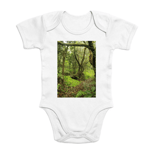 Affordable $15 - ORGANIC BABY BODYSUIT - Natural Images for an Intelligent Baby - Tradewinds trail - El Yunque Puerto Rico - Yunque Store