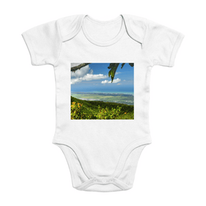 Affordable $15 - ORGANIC BABY BODYSUIT - Natural Images for an Intelligent Baby - View from peak at 3,125 feet - El Yunque rainforest Puerto Rico - Yunque Store