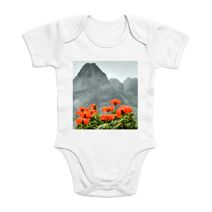 Affordable $15 - ORGANIC BABY BODYSUIT - Natural Images for an Intelligent Baby - View from Yokahu tower - El Yunque rainforest - Yunque Store