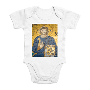 Affordable $15 - ORGANIC BABY BODYSUIT - Real Images for an Intelligent Baby - Jesus gives blessings - Haggia Sofia istambul - Yunque Store