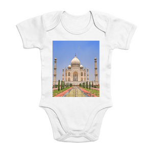 Affordable $15 - ORGANIC BABY BODYSUIT - Real Images for an Intelligent Baby - Taj Mahal India - made out of LOVE by the King for his Wife - Yunque Store