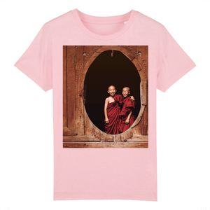 Affordable $19 - CHILD T-SHIRT - 100 % ORGANIC COTTON - Real Images - Two Buddhist child monks in Thailand - Yunque Store