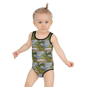 All-Over Print Kids Swimsuit - Isabela Beach Mosaic - Puerto Rico - Yunque Store