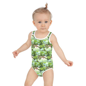 All-Over Print Kids Swimsuit - Mosaic of Butterfly from El Yunque rainforest PR - Yunque Store