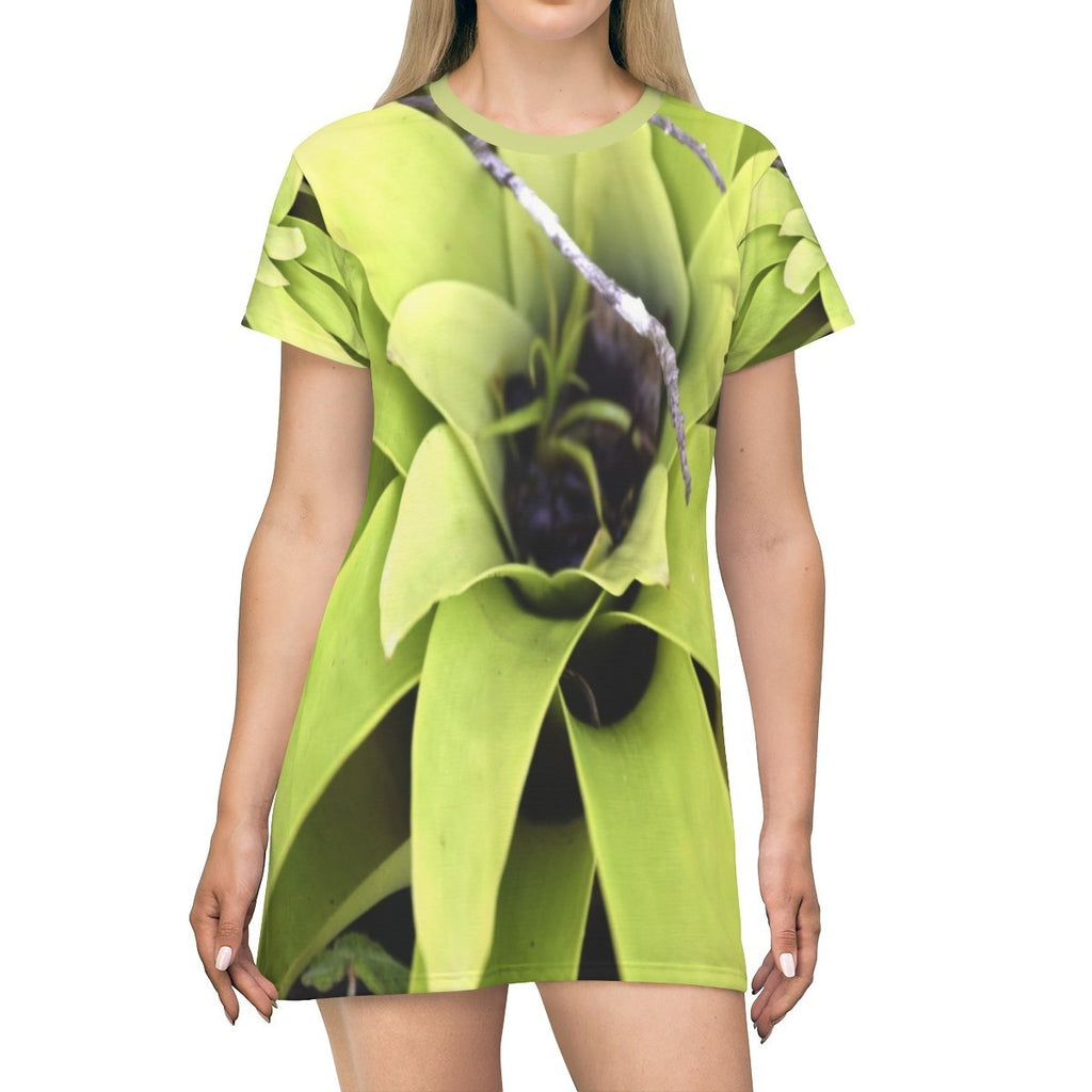 All Over Print T-Shirt Dress - Bromeliad with sprout of itself growing in center - Toro Negro PR - Yunque Store
