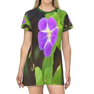 All Over Print T-Shirt Dress - Common flowers of PR - Yunque Store
