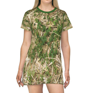 All Over Print T-Shirt Dress - Common tropical Bamboo trees next to road - Yunque Store