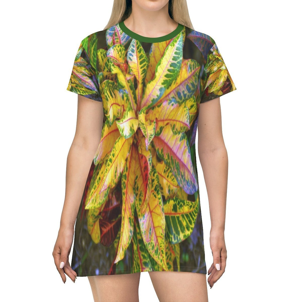 All Over Print T-Shirt Dress - Common tropical decorative plants - Yunque Store