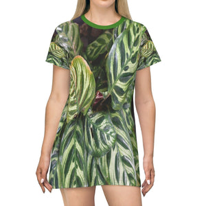 All Over Print T-Shirt Dress - Decorative tropical plant - Isabela PR - Yunque Store