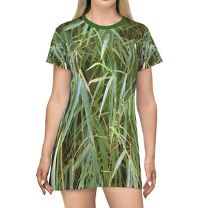 All Over Print T-Shirt Dress - Leaves from Bamboo tree - Yunque Store