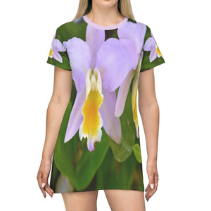 All Over Print T-Shirt Dress - Orchids at exhibition in San Sebastian Fair PR - Yunque Store