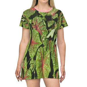 All Over Print T-Shirt Dress - The common decorative plants - Yunque Store