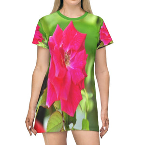 All Over Print T-Shirt Dress - The common Red Rose flower - Yunque Store