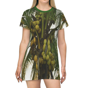 All Over Print T-Shirt Dress - Tropical coconut Palm tree - Isabela PR - Yunque Store