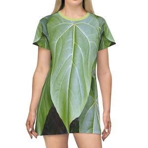All Over Print T-Shirt Dress - Tropical tree large leaves of the highlands - Toro Negro PR - Yunque Store