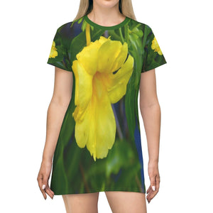 All Over Print T-Shirt Dress - Yellow tropical flower - Yunque Store