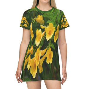All Over Print T-Shirt Dress - Yellow tropical flowers - Yunque Store