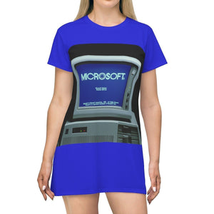 AOP T-shirt Dress - 1st Windows 1.0 PC in 1984 - Bill speeding mug shot - Tech History All Over Prints Printify