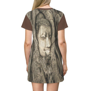 AOP T-shirt Dress - Ancient Buddha head in temple - Buddhism All Over Prints Printify