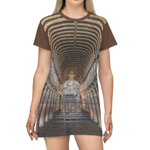 AOP T-shirt Dress - Ancient Buddha in Ajanta Caves - India - Buddhism - Yunque Store