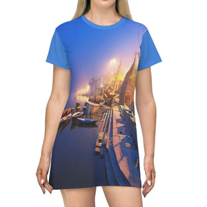 AOP T-shirt Dress - Ancient Holy city of Benares - India - with over 10,000 temples! All Over Prints Printify