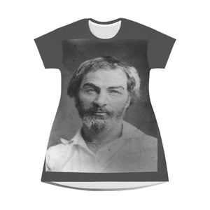 AOP T-shirt Dress - Author of Leaves of Grass - Walt Whitman - Lover of Nature - USA All Over Prints Printify