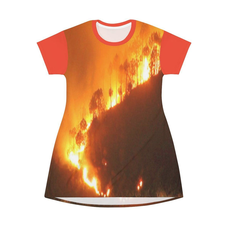 AOP T-shirt Dress - Awesome Global Warming image of huge Amazon forest fires - Small CO2 Keeling curve on back All Over Prints Printify
