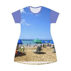 AOP T-shirt Dress - Awesome Luquillo Beach - Puerto Rico All Over Prints Printify