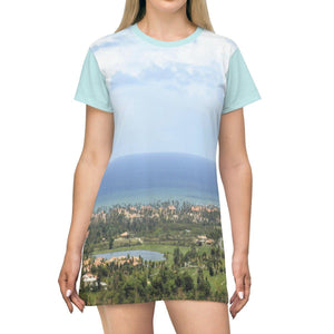 AOP T-shirt Dress - Awesome Palmas del Mar resort complex - Humacao - Puerto Rico All Over Prints Printify