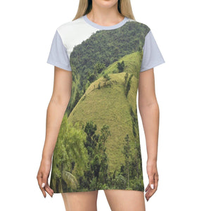 AOP T-shirt Dress - Awesome Patillas mountains and Green Parrots - Puerto Rico All Over Prints Printify