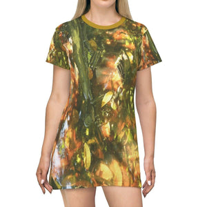 AOP T-shirt Dress - Awesome rare image - sunset and shades in forest swamp leaves - Pterocarpus in Palmas del Mar - PR All Over Prints Printify