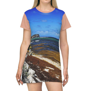 AOP T-shirt Dress - Awesome remote Pajaros algae filled beach - Mona Island - 50 miles off Puerto Rico All Over Prints Printify