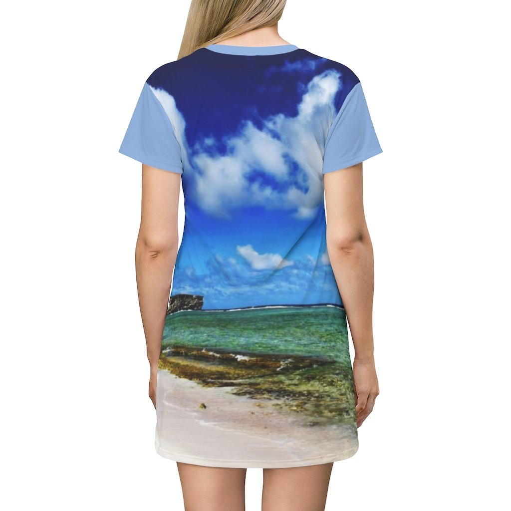 AOP T-shirt Dress - Awesome remote Pajaros beach - Mona Island - 50 miles off Puerto Rico - Yunque Store