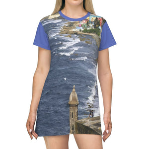 AOP T-shirt Dress - Awesome View from El Morro in Old San Juan - Puerto Rico - Yunque Store
