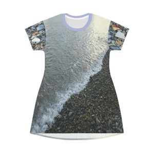 AOP T-shirt Dress - Beach of pebbles both sides - Patillas - a surfing beach - Puerto Rico All Over Prints Printify