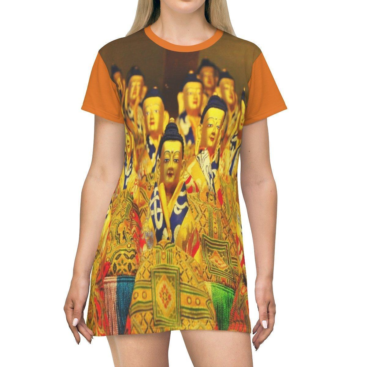 AOP T-shirt Dress - Buddhas in Tibetan temple and the 14th Dalai Lama in Prayer - Buddhism All Over Prints Printify