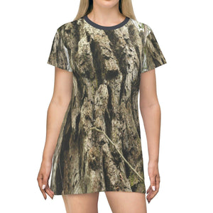 AOP T-shirt Dress - Carite park - large Eucalyptus trunk in Maricao park - Puerto Rico All Over Prints Printify